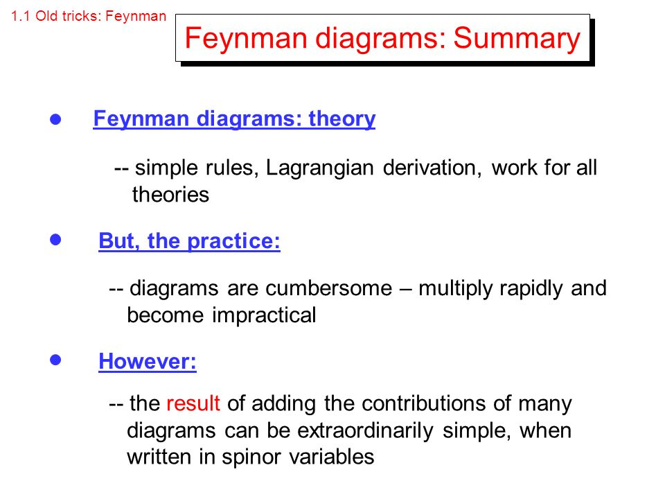 1.1 Old tricks: Feynman Feynman diagrams: Summary Feynman diagrams: theory But, the practice: However: -- simple rules, Lagrangian derivation, work fo
