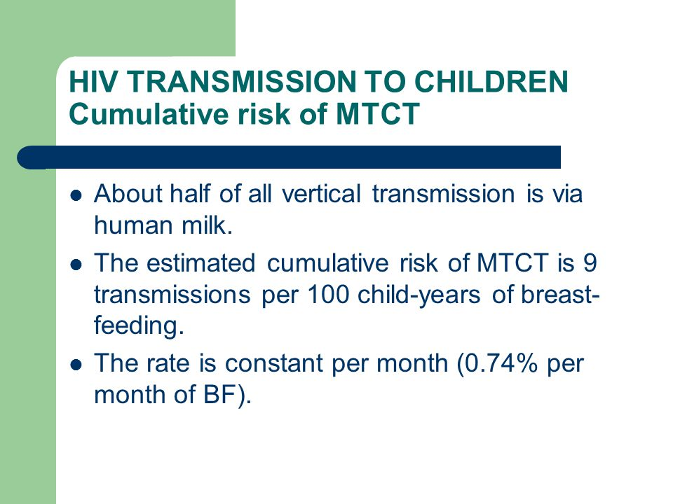 HIV TRANSMISSION TO CHILDREN Cumulative risk of MTCT About half of all vertical transmission is via human milk. The estimated cumulative risk of MTCT