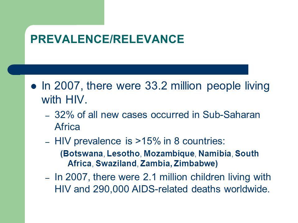 TAKE-HOME MESSAGES: HIV/AIDS HIV/AIDS is a worldwide pandemic, with maximal intensity in sub-Saharan Africa, that has diverse implications for nutrition and food security.