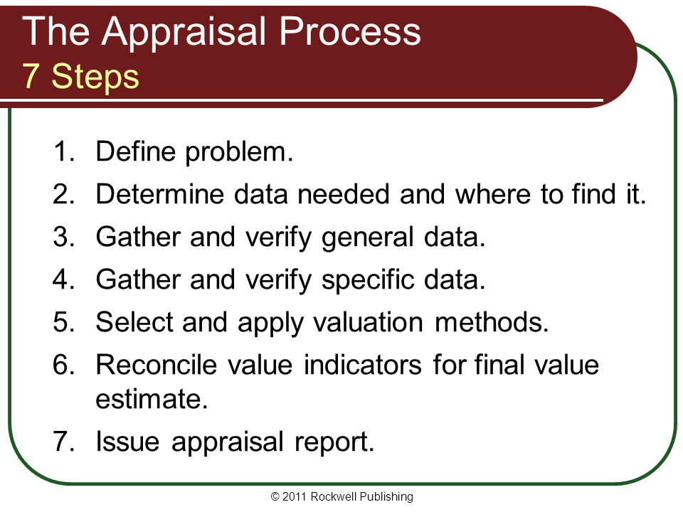 The Appraisal Process 7 Steps 1.Define problem. 2.Determine data needed and where to find it. 3.Gather and verify general data. 4.Gather and verify sp