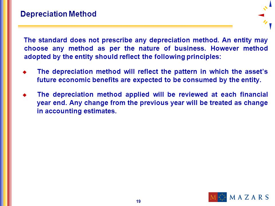 19 Depreciation Method The standard does not prescribe any depreciation method. An entity may choose any method as per the nature of business. However