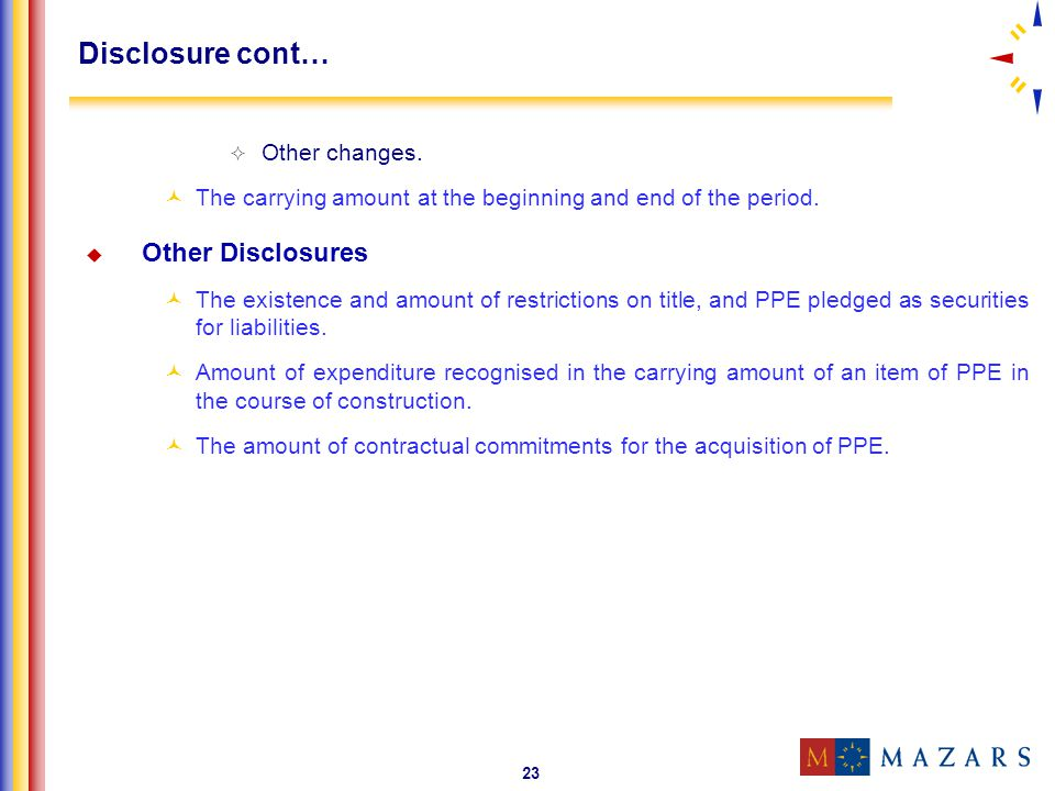 23 Disclosure cont… Other changes. The carrying amount at the beginning and end of the period. Other Disclosures The existence and amount of restricti