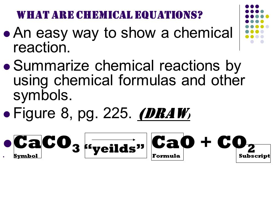What are Chemical Equations. An easy way to show a chemical reaction.