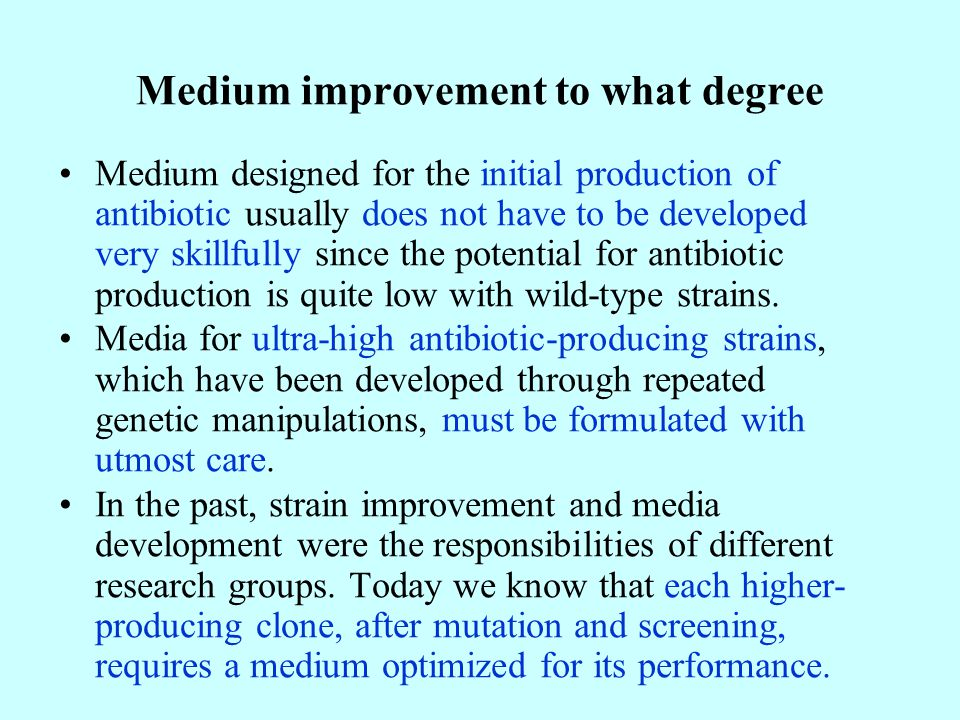Medium improvement to what degree Medium designed for the initial production of antibiotic usually does not have to be developed very skillfully since the potential for antibiotic production is quite low with wild-type strains.