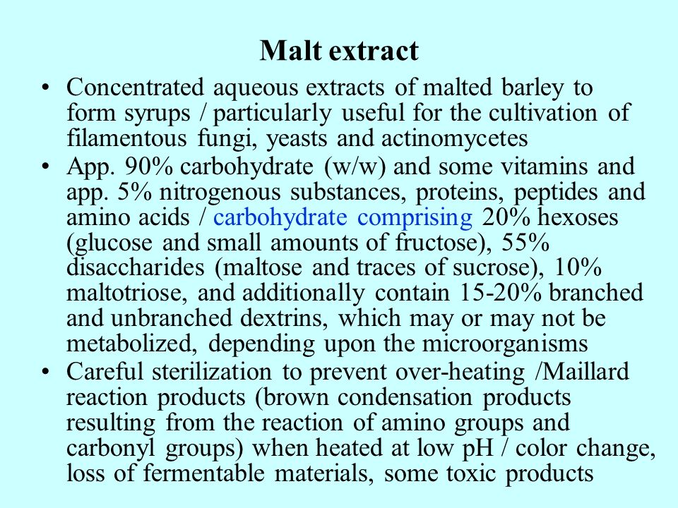 Malt extract Concentrated aqueous extracts of malted barley to form syrups / particularly useful for the cultivation of filamentous fungi, yeasts and actinomycetes App.