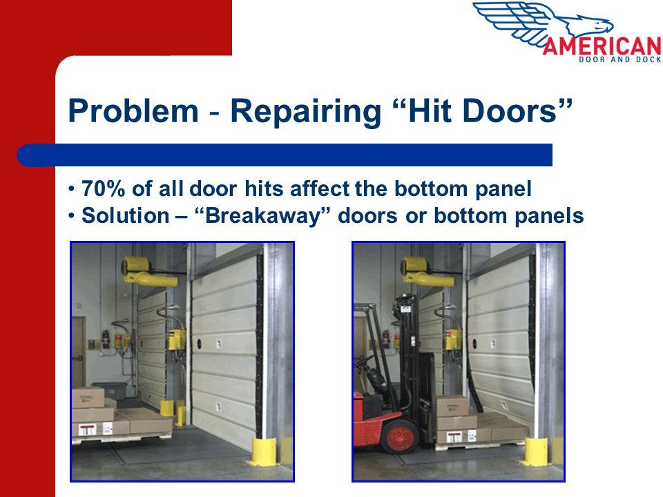 Problem - Repairing Hit Doors 70% of all door hits affect the bottom panel Solution – Breakaway doors or bottom panels