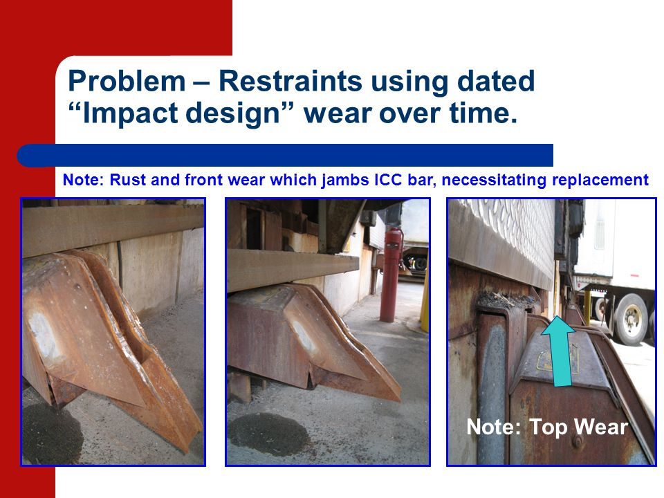 Problem – Restraints using dated Impact design wear over time. Note: Top Wear Note: Rust and front wear which jambs ICC bar, necessitating replacement