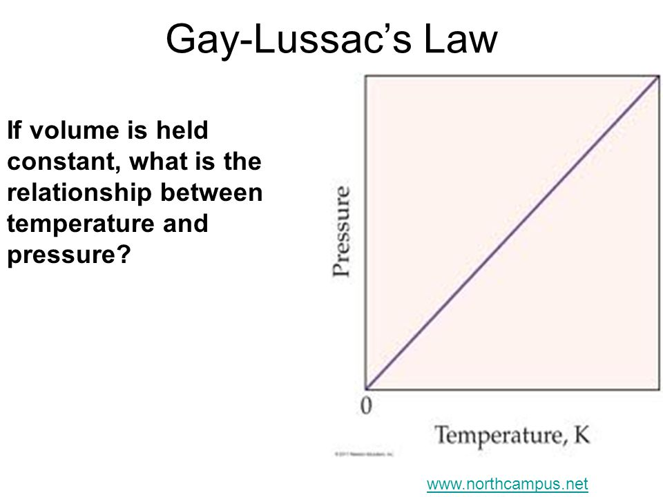 Gay-Lussacs Law If volume is held constant, what is the relationship between temperature and pressure? www.northcampus.net