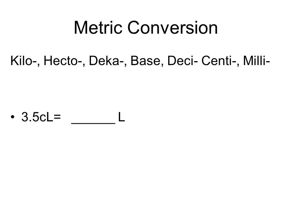 Metric Conversion Kilo-, Hecto-, Deka-, Base, Deci- Centi-, Milli- 3.5cL= ______ L