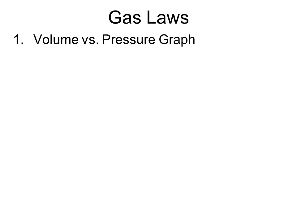 Gas Laws 1. Volume vs. Pressure Graph