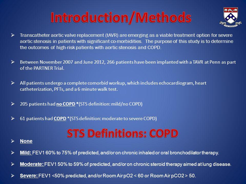 No COPD (n=205) COPD (n= 61) P-Value Age83.95 ± 6.7181.52 ± 8.10.060 Male108 (53%)30 (49%)0.663 Race - white199 (97%)57 (93%)0.244 STS Score11.18 ± 4.112.13 ± 3.790.033 Avg BNP3759.153932.740.914 No COPD (n=205) COPD (n= 61) P-Value HTN187 (91%)54 (89%)0.617 CV Disease66 (32%)21 (34%)0.758 Diabetes76 (37%)19 (31%)0.448 Renal Failure20 (10%)8 (13%)0.478 Prior MI47 (23%)13 (21%)0.863 PAD95 (46%)30 (49%)0.771 No COPD (n=205) COPD (n= 61) P-Value FVC2.31 ± 0.731.98 ± 0.810.005 % Pred FVC93% ± 29%75% ± 32% <0.001 FEV11.72 ± 0.571.29 ± 0.610.138 % Pred FEV194% ± 31%66% ± 30% <0.001 FEV1/FVC0.75 ± 0.150.67 ± 0.17 <0.001 No COPD (n=205) COPD (n= 61) P-Value PA Systolic47.75 ± 16.0350.12 ± 15.230.151 PA Diastolic19.49 ± 8.1521.98 ± 8.20.019 PCWP20.41 ± 9.9921.88 ± 7.30.096 LVEDP17.91 ± 8.2322.38 ± 7.510.001