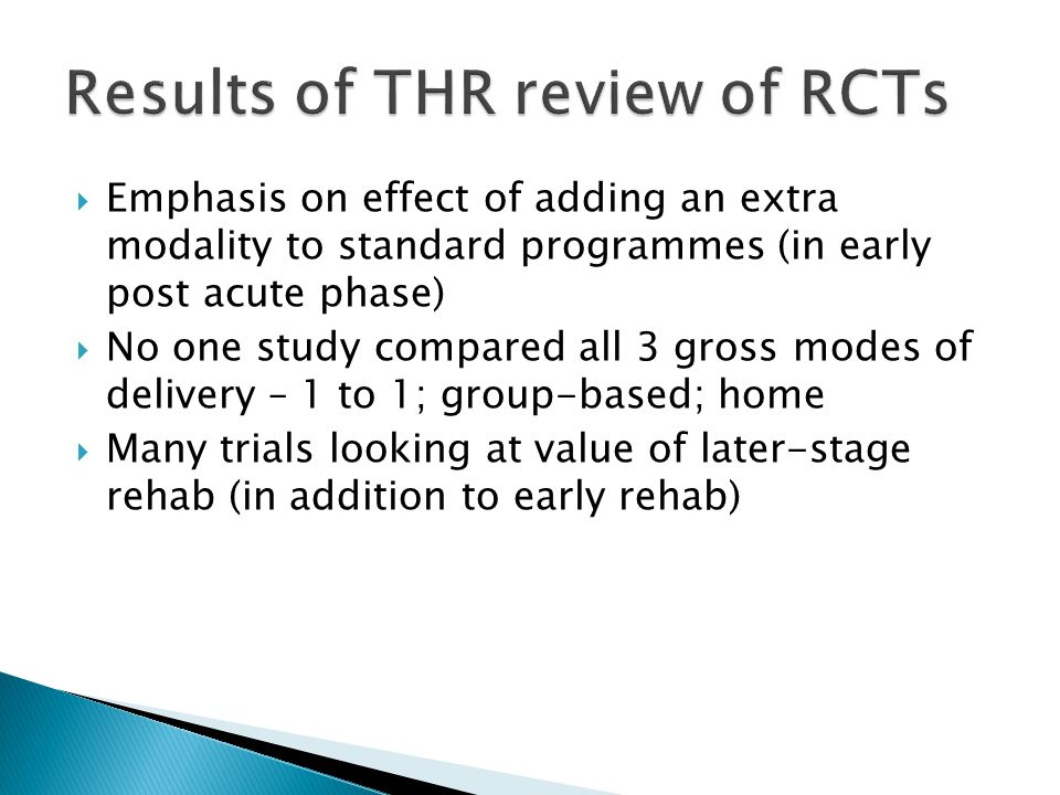 Literature search of RCTs Location/Type/Mode Outpatient 1-to-1 vs group or home Group vs Home Inpatient Rehab vs Home or Group or Outpatient Timing Early (commenced within 4 weeks post-op) Late (commenced > 2 months post-op)