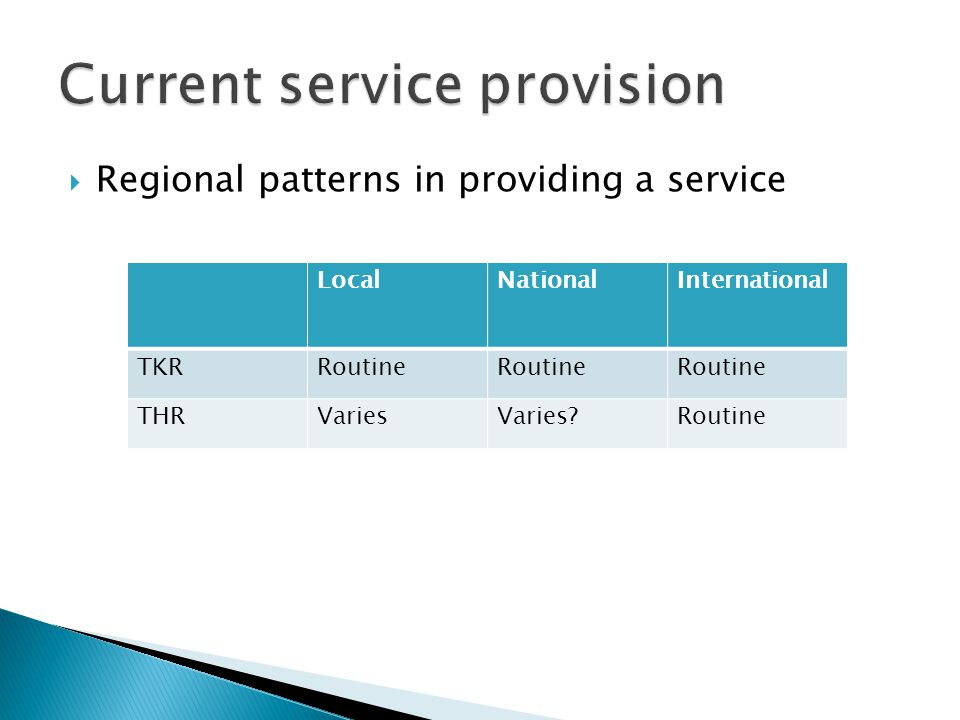 Regional patterns in providing a service LocalNationalInternational TKRRoutine THRVariesVaries?Routine
