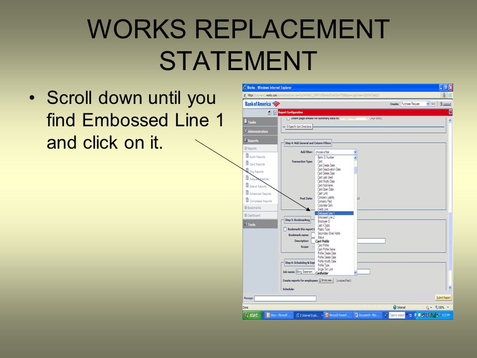 WORKS REPLACEMENT STATEMENT Scroll down until you find Embossed Line 1 and click on it.