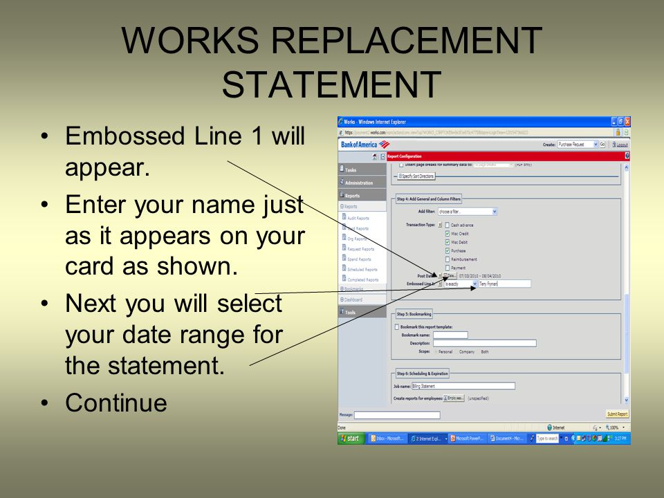 WORKS REPLACEMENT STATEMENT Embossed Line 1 will appear.