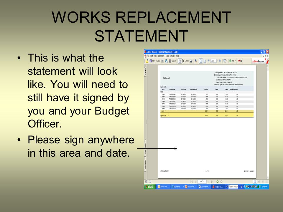WORKS REPLACEMENT STATEMENT This is what the statement will look like.