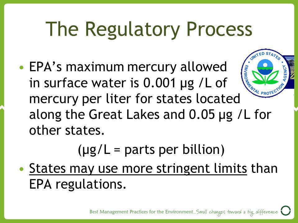 The Regulatory Process EPAs maximum mercury allowed in surface water is 0.001 µg /L of mercury per liter for states located along the Great Lakes and 0.05 µg /L for other states.