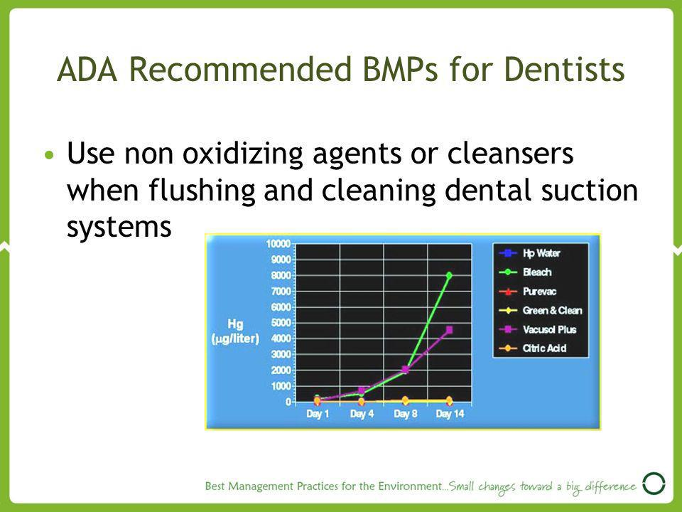 ADA Recommended BMPs for Dentists Use non oxidizing agents or cleansers when flushing and cleaning dental suction systems
