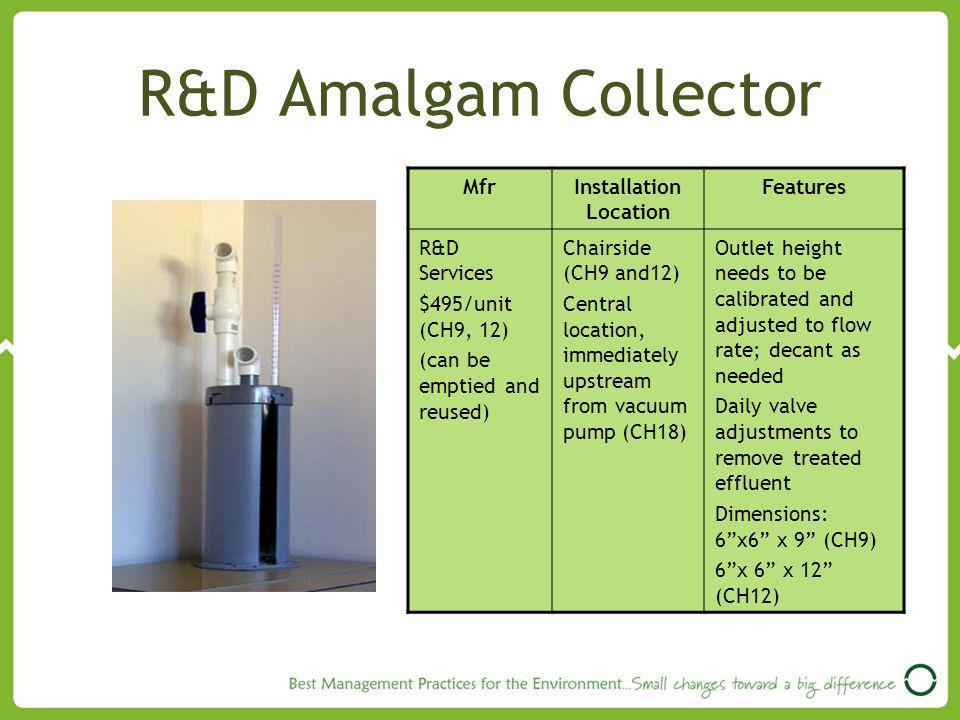 R&D Amalgam Collector MfrInstallation Location Features R&D Services $495/unit (CH9, 12) (can be emptied and reused) Chairside (CH9 and12) Central location, immediately upstream from vacuum pump (CH18) Outlet height needs to be calibrated and adjusted to flow rate; decant as needed Daily valve adjustments to remove treated effluent Dimensions: 6x6 x 9 (CH9) 6x 6 x 12 (CH12)