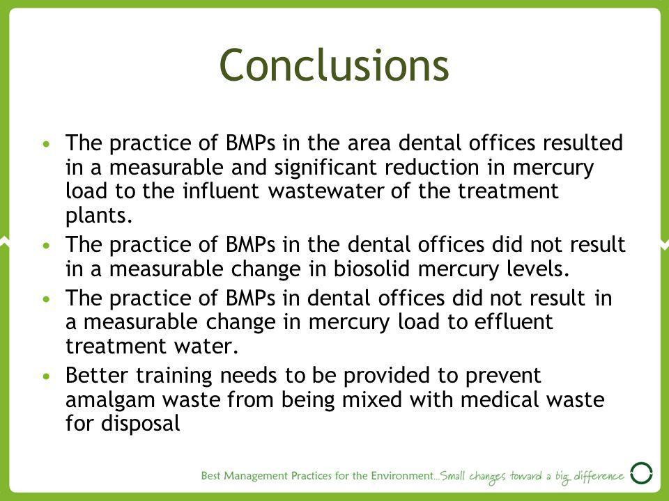 Conclusions The practice of BMPs in the area dental offices resulted in a measurable and significant reduction in mercury load to the influent wastewater of the treatment plants.