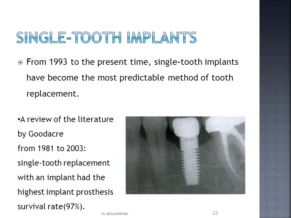 From 1993 to the present time, single-tooth implants have become the most predictable method of tooth replacement. A review of the literature by Gooda
