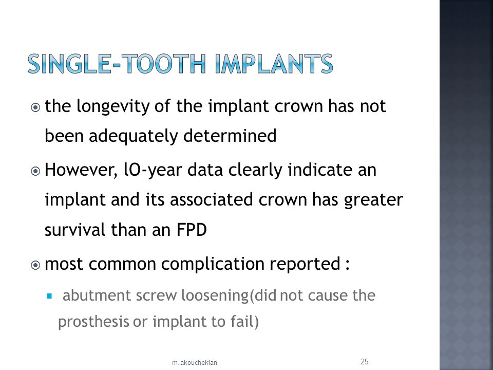 the longevity of the implant crown has not been adequately determined However, lO-year data clearly indicate an implant and its associated crown has g