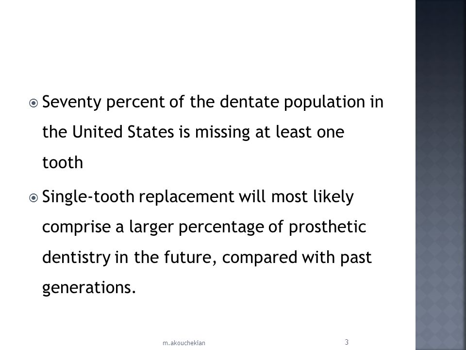 Seventy percent of the dentate population in the United States is missing at least one tooth Single-tooth replacement will most likely comprise a larg