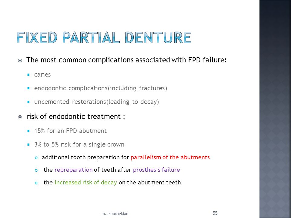 The most common complications associated with FPD failure: caries endodontic complications(including fractures) uncemented restorations(leading to dec