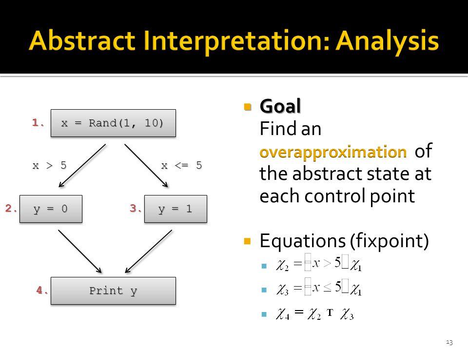 x = Rand(1, 10) y = 1 y = 0 Print y x > 5 x <= 5 1. 2.3. 4. 13