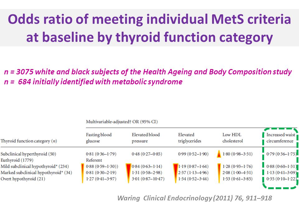Odds ratio of meeting individual MetS criteria at baseline by thyroid function category Waring Clinical Endocrinology (2011) 76, 911–918 n = 3075 white and black subjects of the Health Ageing and Body Composition study n = 684 initially identified with metabolic syndrome