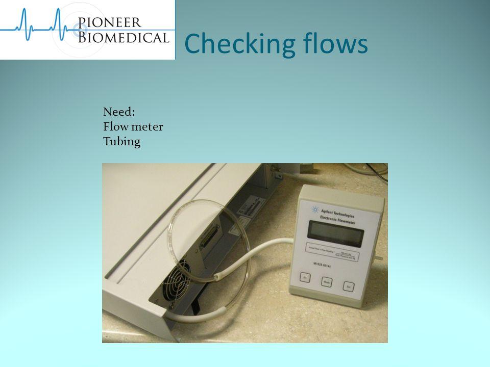 Checking flows Need: Flow meter Tubing