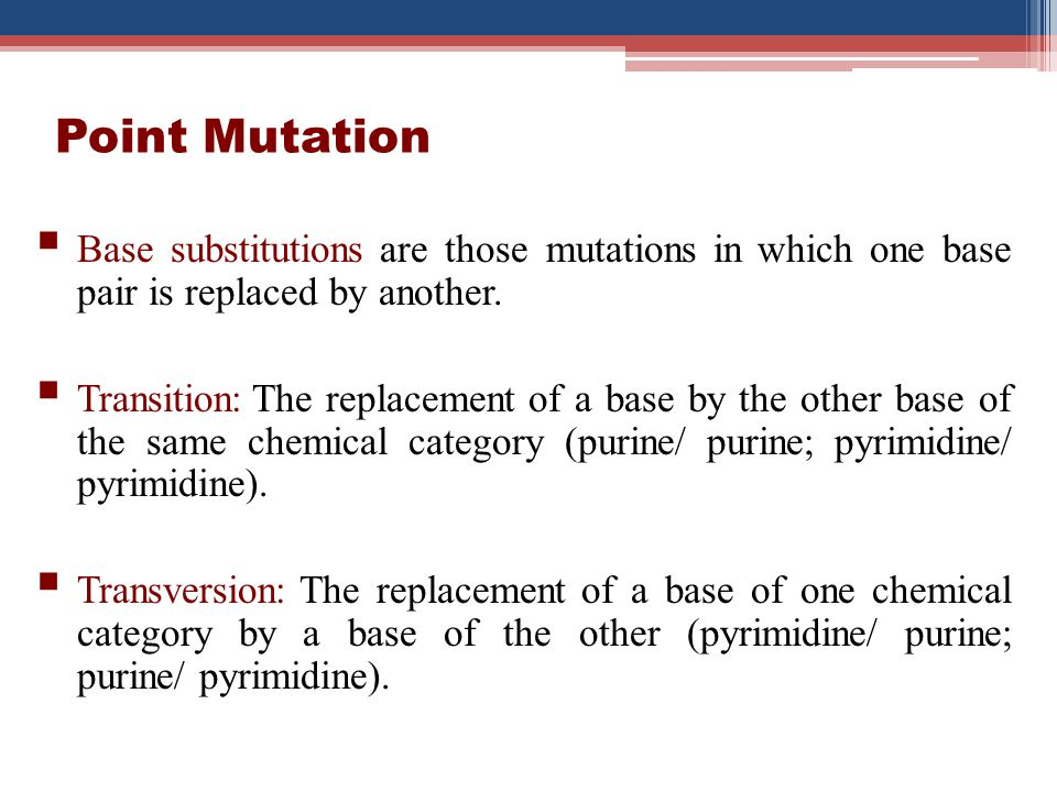 Point Mutation Base substitutions are those mutations in which one base pair is replaced by another. Transition: The replacement of a base by the othe