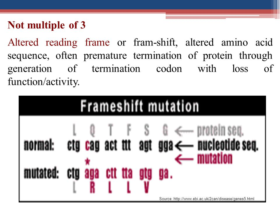 Altered reading frame or fram-shift, altered amino acid sequence, often premature termination of protein through generation of termination codon with