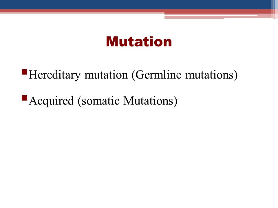 Mutation Gene Mutation Point Mutation Insertion/ Deletion Chromosomal Alteration Structural Numerical