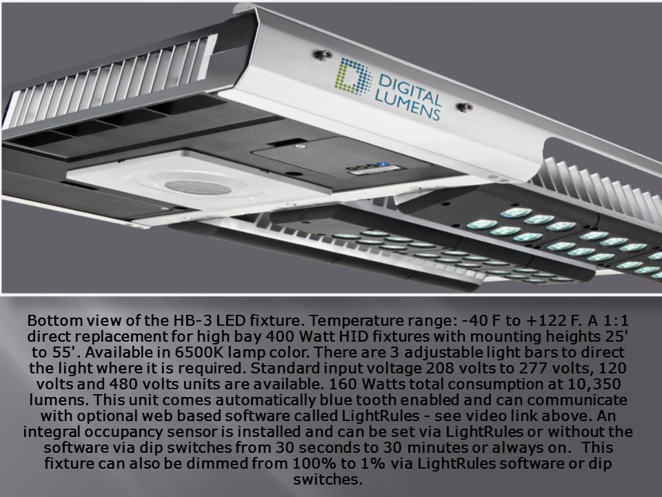 Bottom view of the HB-3 LED fixture. Temperature range: -40 F to +122 F.
