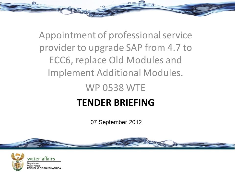 Appointment of professional service provider to upgrade SAP from 4.7 to ECC6, replace Old Modules and Implement Additional Modules. WP 0538 WTE TENDER