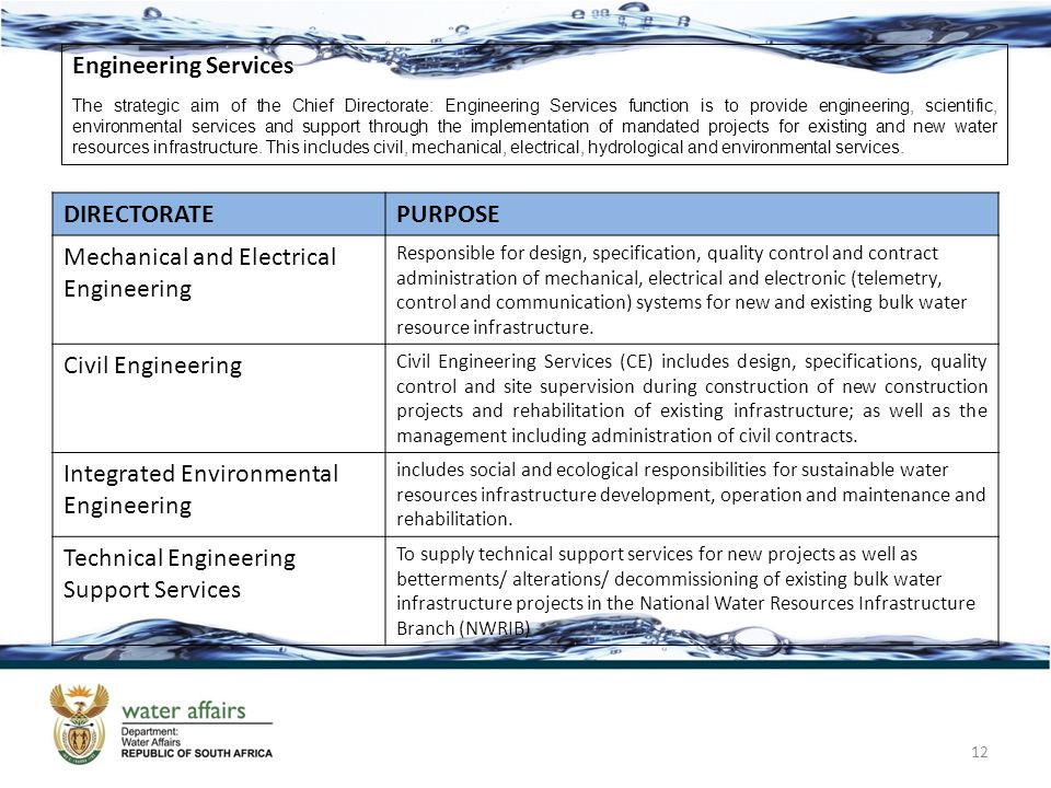 12 Engineering Services The strategic aim of the Chief Directorate: Engineering Services function is to provide engineering, scientific, environmental