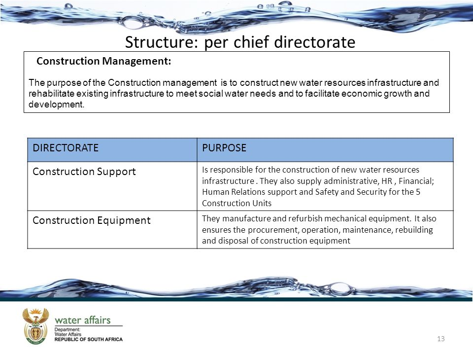 Structure: per chief directorate 13 Construction Management: The purpose of the Construction management is to construct new water resources infrastruc