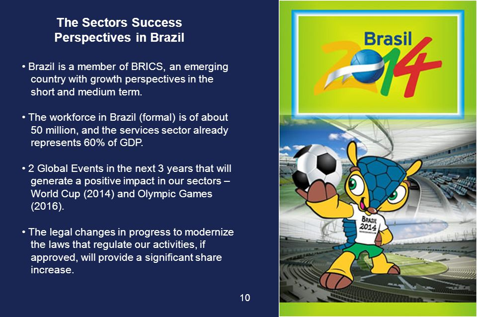 The Sectors Success Perspectives in Brazil Brazil is a member of BRICS, an emerging country with growth perspectives in the short and medium term. The