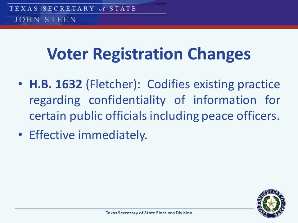 Voter Registration Changes H.B. 1632 (Fletcher): Codifies existing practice regarding confidentiality of information for certain public officials incl