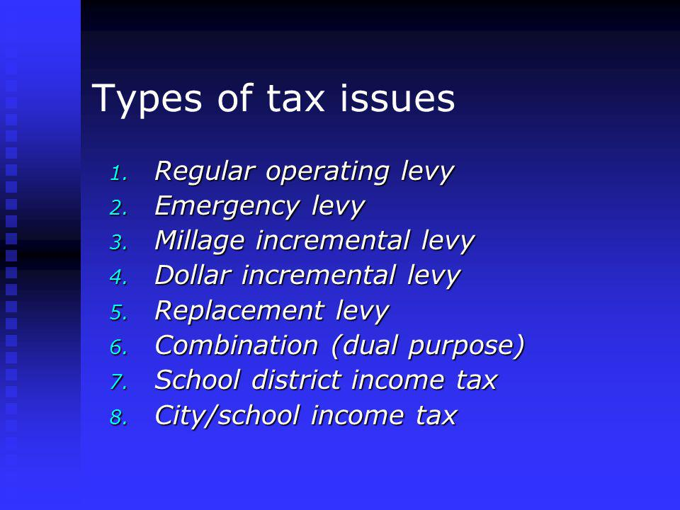 Types of tax issues 1. Regular operating levy 2. Emergency levy 3.