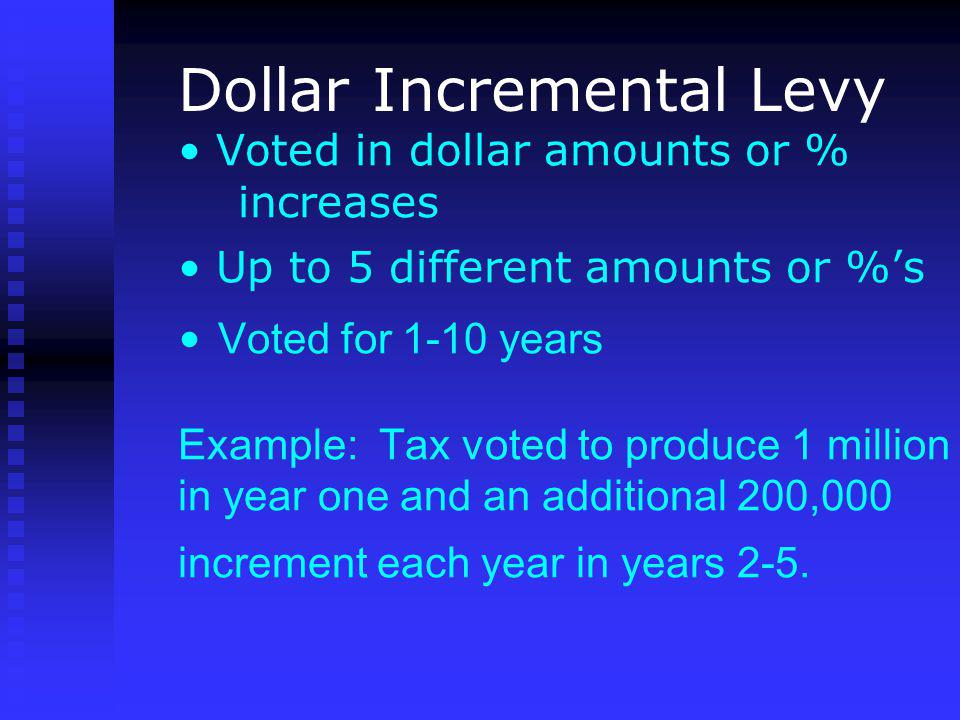 Voted in dollar amounts or % increases Up to 5 different amounts or %s Voted for 1-10 years Example: Tax voted to produce 1 million in year one and an additional 200,000 increment each year in years 2-5.