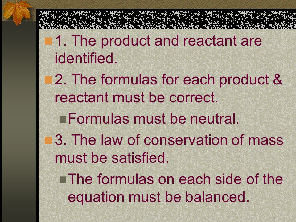 Parts of a Chemical Equation 1. The product and reactant are identified.