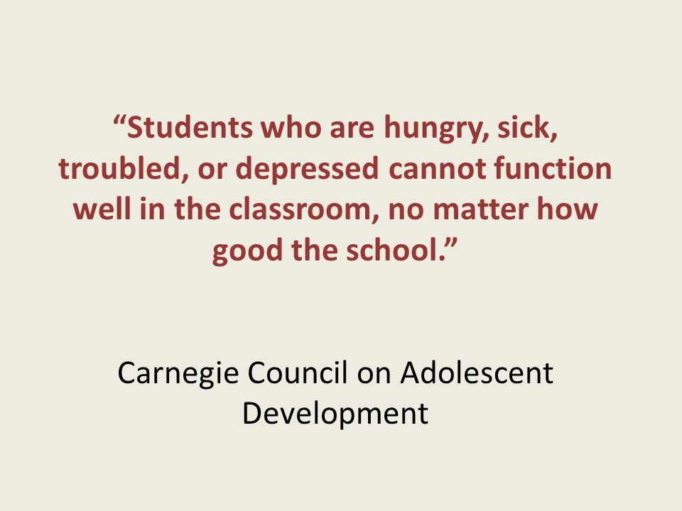 Students who are hungry, sick, troubled, or depressed cannot function well in the classroom, no matter how good the school. Carnegie Council on Adoles