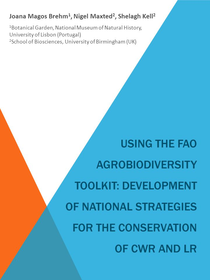 USING THE FAO AGROBIODIVERSITY TOOLKIT: DEVELOPMENT OF NATIONAL STRATEGIES FOR THE CONSERVATION OF CWR AND LR Joana Magos Brehm 1, Nigel Maxted 2, Shelagh Kell 2 1 Botanical Garden, National Museum of Natural History, University of Lisbon (Portugal) 2 School of Biosciences, University of Birmingham (UK)