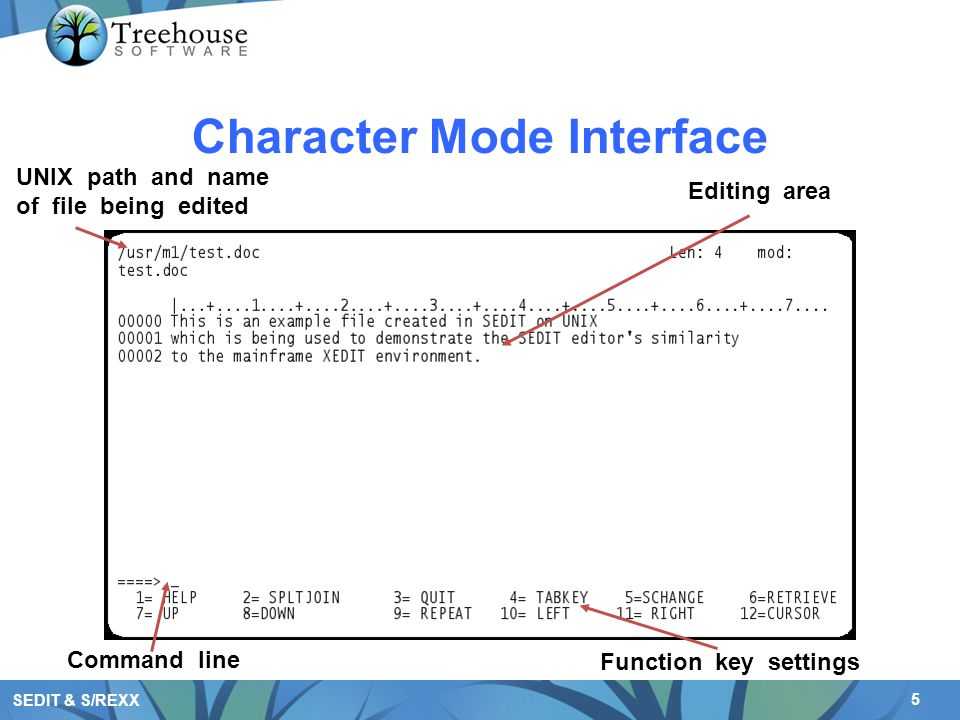 6 SEDIT & S/REXX Optional GUI Interface Buttons (can be customized) Compiler Support Function key settings Command line