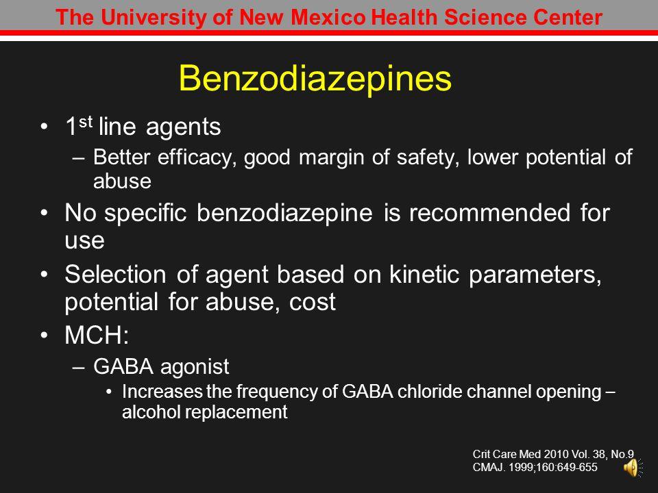 The University of New Mexico Health Science Center Therapeutic Options Benzodiazepines Phenobarbital Propofol Dexmedetomidine Crit Care Med 2010 Vol.