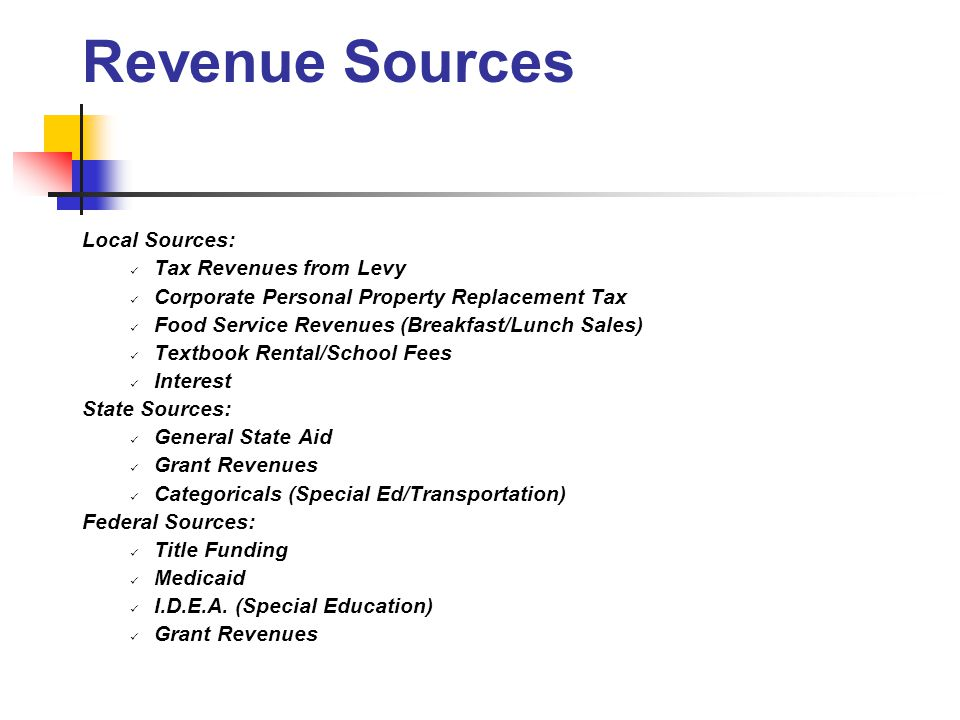 Local Sources: Tax Revenues from Levy Corporate Personal Property Replacement Tax Food Service Revenues (Breakfast/Lunch Sales) Textbook Rental/School Fees Interest State Sources: General State Aid Grant Revenues Categoricals (Special Ed/Transportation) Federal Sources: Title Funding Medicaid I.D.E.A.