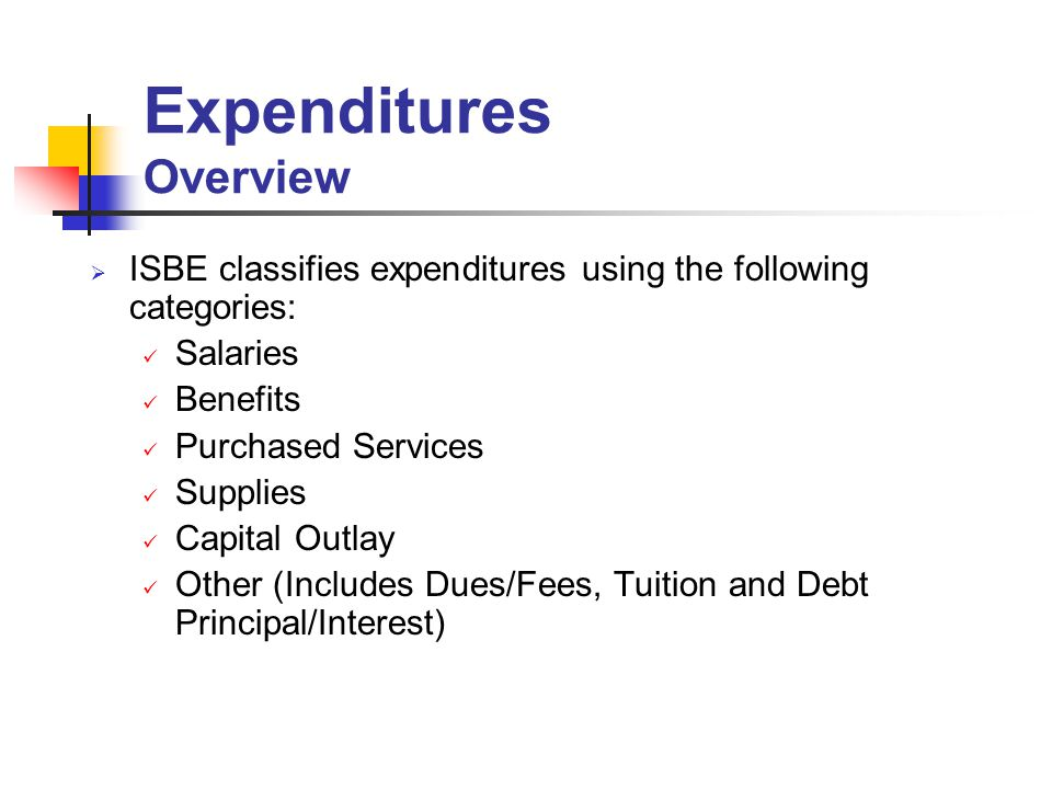 ISBE classifies expenditures using the following categories: Salaries Benefits Purchased Services Supplies Capital Outlay Other (Includes Dues/Fees, Tuition and Debt Principal/Interest) Expenditures Overview
