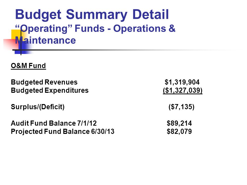 O&M Fund Budgeted Revenues $1,319,904 Budgeted Expenditures ($1,327,039) Surplus/(Deficit) ($7,135) Audit Fund Balance 7/1/12 $89,214 Projected Fund Balance 6/30/13 $82,079 Budget Summary Detail Operating Funds - Operations & Maintenance